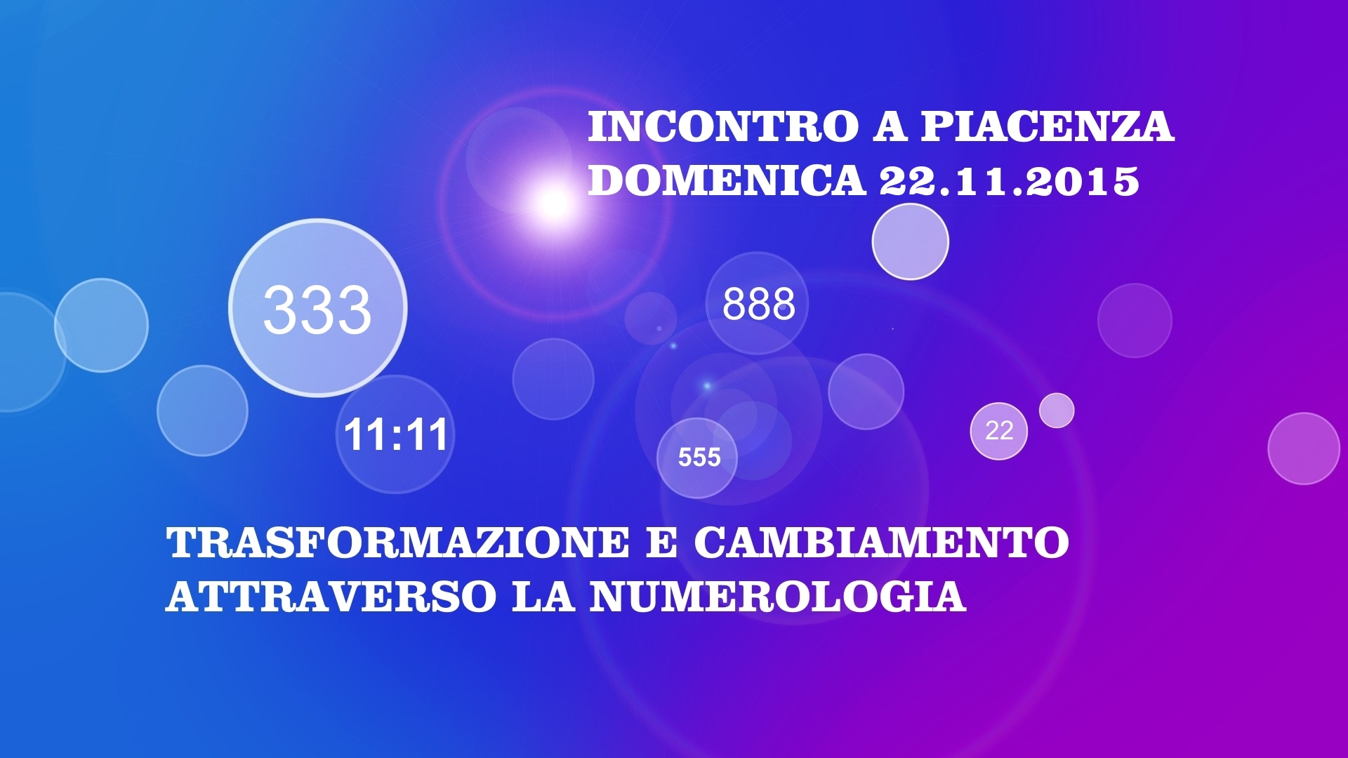 22.11.2015 – INCONTRO A PIACENZA: L'ARMONIA UNIVERSALE E'… IL CAMBIAMENTO!