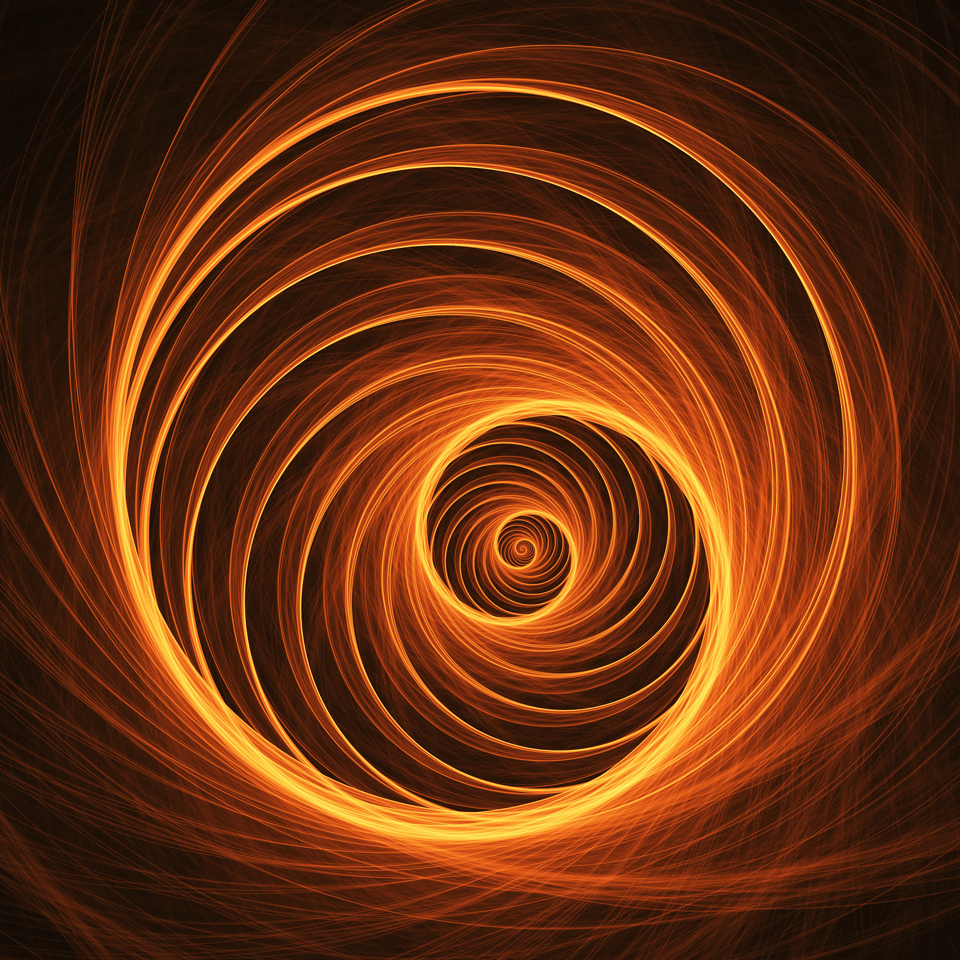 abstract fire web spiral on dark background