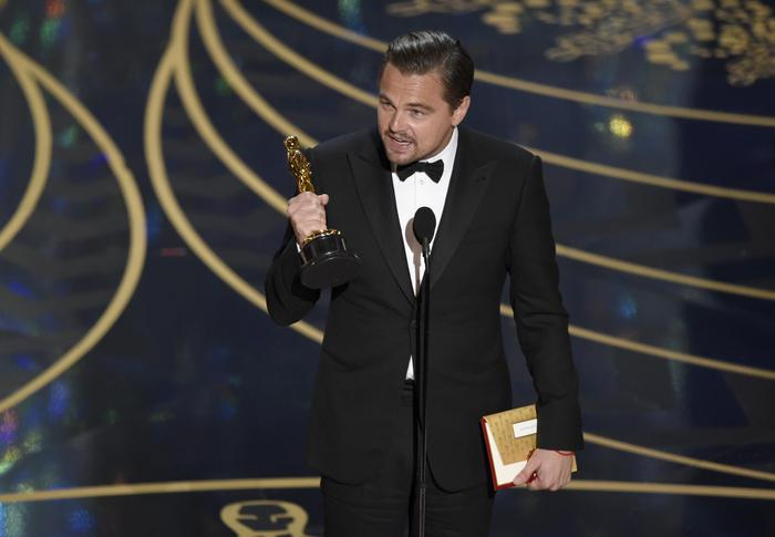 Leonardo DiCaprio accepts the award for best actor in a leading role for The Revenant at the Oscars on Sunday, Feb. 28, 2016, at the Dolby Theatre in Los Angeles. (Photo by Chris Pizzello/Invision/ANSA/AP)