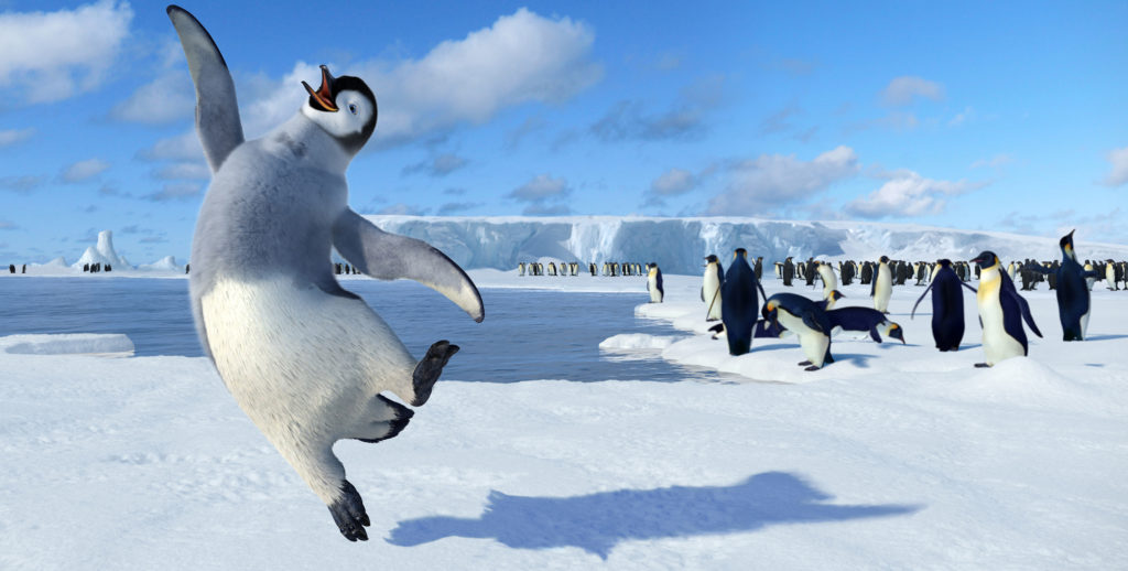 ORG XMIT: *S0418430112* In this photo provided by Warner Bros. Pictures, unlike the other Emperor penguins, Mumbles (voiced by Elijah Wood) Heartsong comes from his tapping feet rather than his beak in Happy Feet. (AP Photo/ Warner Bros. Pictures) NYET683 11222006xQUICK 11242006xguidelive 11272006xBIZ 12012006xguidelive 12042006xquick 03302007xaldia